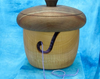 Yarn Bowl Wood Acorn Box Figured Maple and Black Walnut #105