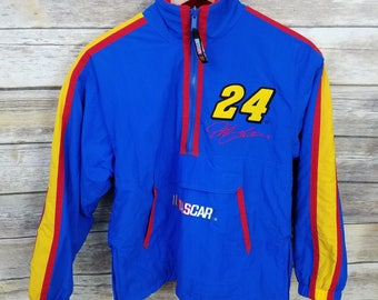 Vintage NASCAR Jeff Gordon 24 Rainbow Reversible Half Zip Jacket Coat Youth Size Medium