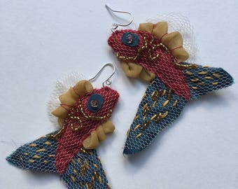 Embellished Fish Earrings Red