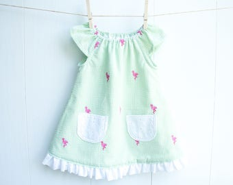 Flamingo Baby Dress-Baby Girl Dress-Ruffled Dress-Lime Green Seersucker with Embroidered Pink Flamingos-Flutter Sleeve Dress with Pockets