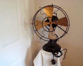 1920s GEC Witton 230/250v Freezor 12 inch Black Electric Fan. Tested and Working.