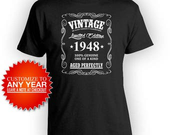 Personalized Birthday Shirt 70th Birthday T Shirt Birthday Gifts For Him Bday Gift Ideas Custom Vintage 1948 Aged Perfectly Mens Tee - BG370