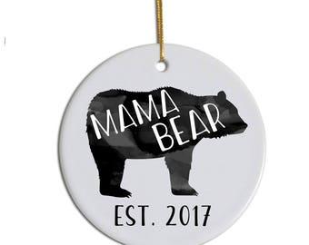 Mama Bear Ornament, Mom Ornament, Custom Ornament, New Mom Ornament, Mom Christmas Gift, Pregnancy Announcement Ornament, Mom Xmas Ornament