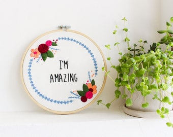 Floral Embroidery Kit, Modern Embroidery Kit, Craft Kit, Embroidery Pattern, Galentine's Day Gift, Empowerment Embroidery Kit, Gift For Her