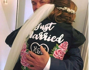 Custom painted personalised wedding jacket
