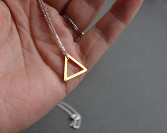 Small Gold Vermeil Triangle Necklace | Open Triangle Geometric Necklace