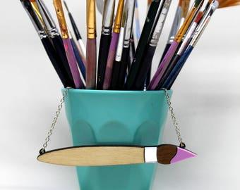Paintbrush laser cut acrylic wood necklace /// jewellery artist art statement novelty painter gift present