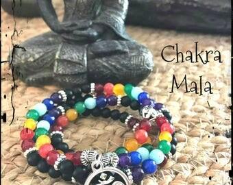 7 chakra mala, mala, om, meditation beads, prayer beads, chakra bracelet , meditation jewelry, zen, yoga, healing crystals, healing stones