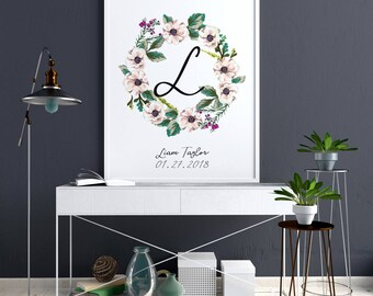 Nursery Monogram Wall Art, Custom Baby Name Wall Decor, Floral Nursery  Decor, Nursery