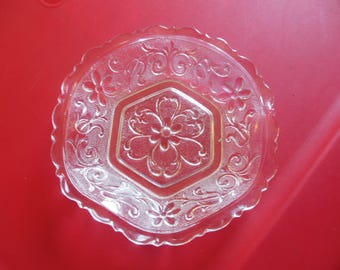 Clear Glass Vintage Relish/Candy Dish with Flower Design Prescut