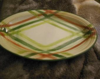 Vintage Oval Green Orange Patterened Platter 40s 50s era
