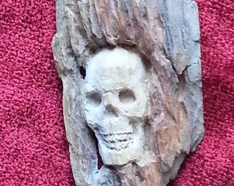 Handmade Wooden Skull Carving
