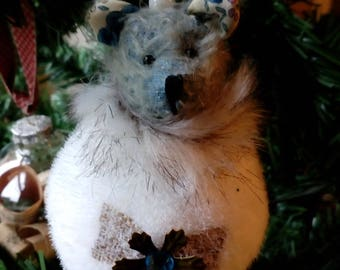 Ornament with mohair bear head
