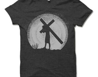 Jesus Silhouette Shirt  Christian Cross T Shirt.