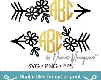 Arrow Svg / Monogram Frame Svg / Floral Frame Svg / Arrow Monogram Svg / Cutting files for use with Silhouette Cameo and Cricut