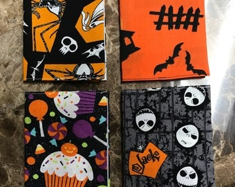 Free Shipping! Set of Four Halloween Nightmare Before Christmas Jack Skellington Fabric Covered Mini Journals