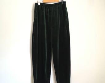 Flowy velvet pants, 90s, elastic waist, green velvet, Gloria Vanderbilt, XL, *vintage*