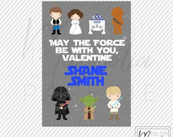 Star Wars Valentine Printable, May the Force Be With You Valentine, Personalized digital printable