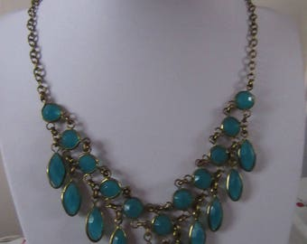 Turquoise Green droplet cascade bib collar necklace lobster clasp extender chain 18 inches 46 cms
