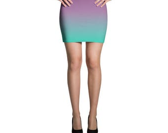 Ombre Skirt, Purple Skirt, Jersey Skirt, Fitted Skirt, Mint Skirt, Pencil Skirt, Printed Skirt, Mini Skirt, Summer Skirt, Casual Skirt,