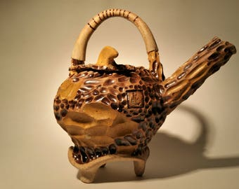 Koi Teapot I. Wheel Thrown and Hand Carved One of a Kind Stoneware Teapot.