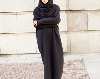 Abaya Maxi Cocoon Hooded Black Dress Gown, Winter Oversized Long Hoodie, Quilted Caftan Dress, Kaftan Dress, Long Plus Size Winter Dress