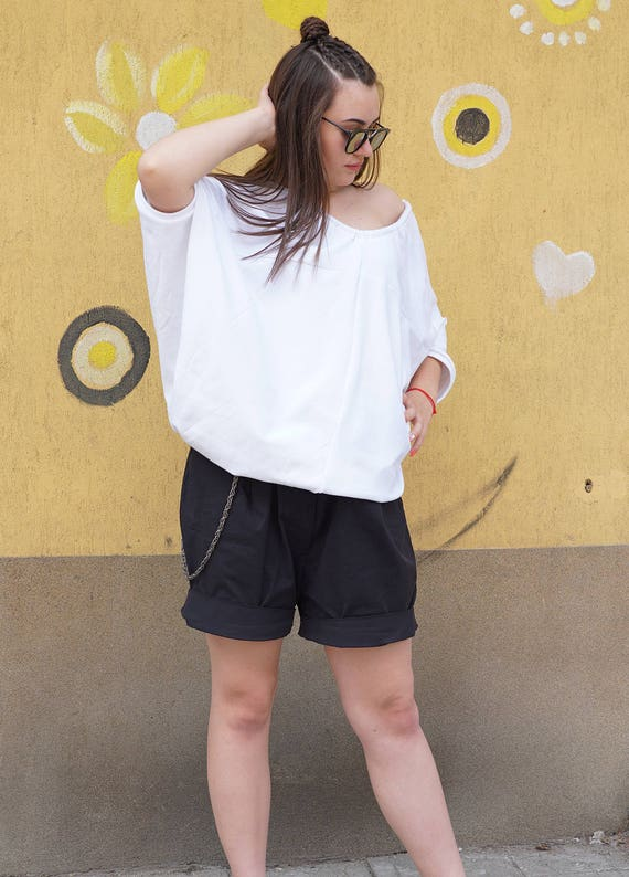 Loose Fit Tunic Top | Summer Loose Neck White Top | Baggy Tank Top | Excentric Smock Cotton Top Tunic | Extravagant Top