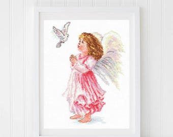 Cross Stitched Picture 'Angel's dreams', Finished Embroidery, Finished Cross Stitched Picture