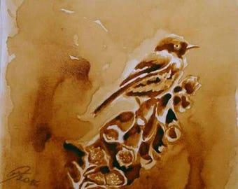 watercolor painting, coffee art, original art, original painting, original watercolor painting, coffee painting, original art painting