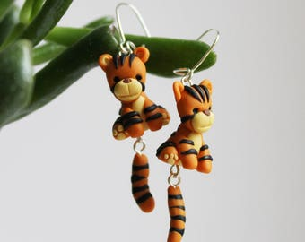 Tiger Earrings - Polymer Clay Earrings - Statement Earrings - Nickel Free - Gift For Her -  Animal Earrings - Cute Earrings - Orange & Black