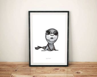 Sea Lion Illustration black and white poster