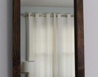 Rustic Reclaimed Wood Mirror 24x16 Distressed Wood Frame Mirror Rectangular Rustic Mirror Salvaged Wood Bathroom Mirror Hallway Mirror
