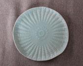 Small Ceramic Plate / Handmade Ceramics / Doily Pattern / Porcelain Plate / Light Blue / Textured Plate / Food Safe