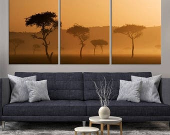 Large 3 Panels Nature Wall Art Canvas Print - Acacia Tree of Africa at Sunset Canvas Print, Housewarming Gift, Canvas Art, African Trees
