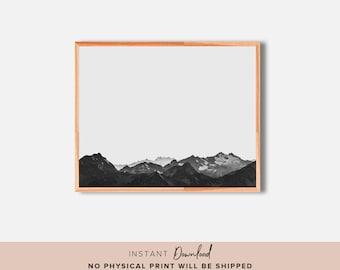Mountain Print, Minimalist Print, Scandinavian Print, Black and White Print, Nordic Print, Minimalist Poster, Modern Art, PRINTABLE