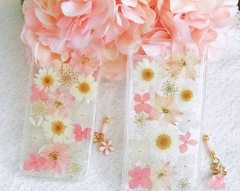Handmade pressed flowers Silicone soft case for iphone 7 plus iphone 8 plus iPhone 10 case cover pink w daisy and lovely