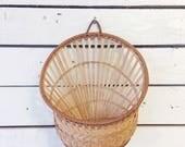 Vintage straw wicker hanging basket   hanging flower basket   boho basket   boho gallery wall