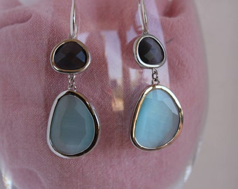 Earrings with grey and blue stones