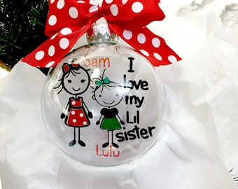 Big Sister Little Sister Ornament;  Sibling Ornament; Custom Ornament; Personalized Ornament; Floating Ornament