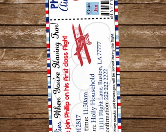 Airplane ticket Birthday Invitation, Vintage Airplane invitation, Airplane ticket invitation, Plane birthday invitation