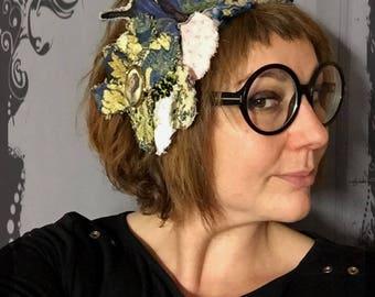 "Headband pink blue Bohemian fiber art-gold butterfly, flower - cameo - contemporary art - antique Limoges beads ""Majesty"""