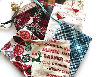 Wood Slice Ornament Flannel Storage Bags
