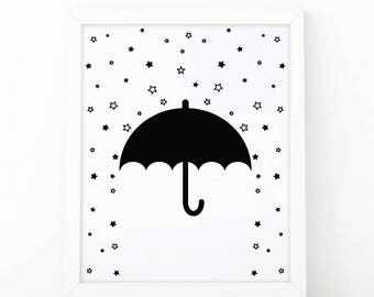 Umbrella, stars, Rain Art, Black and White, Nursery Wall art, Modern print, digital print, Minimalist Art, Kids Room Decor, illustration