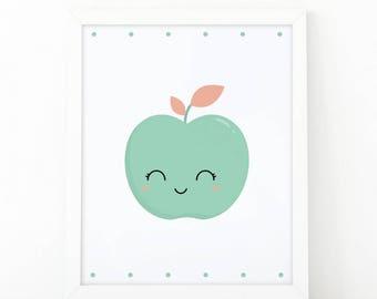 Apple wall art, Digital print, Kids room decor, nursery wall art, Kitchen wall art, Fruit wall art, children poster, 8x10, shooshprints