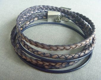 Leather wrap bracelet of denim blue and light brown