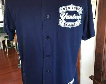 Vintage 1990's NY New York Yankees MLB Baseball Button Down Shirt