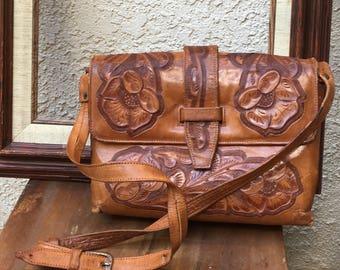Vintage Handtooled Leather Purse   Hand Carved Leather Vintage Boho Chic Bohemian Boho Rustic Western Shoulder Handbag