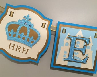 HRH (Her Royal Highness) Crown Princess Party Banner, Blue // Princess Birthday Banner // Cinderella Party Banner // Castle Name Banner