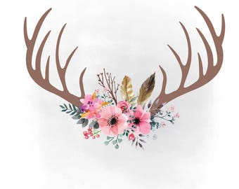 pink floral antlers  SVG clipart, boho Antlers svg, feathers hornes SVG, flowers, Boho Antlers clipart AI Svg Png Jpeg