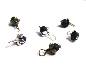 10PC. 4MM Matte Black Finished Agate Onyx Stone Bead Flower Charm/Handmade Natural Stone Flower Bead Charm/Antique Bronze or Antique Silver